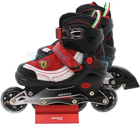 Ferrari: Rolki regulowane, 30-33, CZARNO-CZERWONE